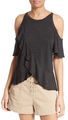 Women's A.l.c. Anya Ruffled Linen Cold Shoulder Tee $125 thestylecure.com