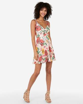 Express Floral Satin Surplice Fit And Flare