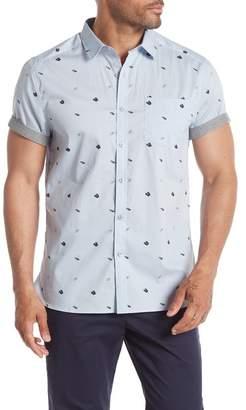 Kenneth Cole New York Short Sleeve Flip Flop Print Woven Shirt