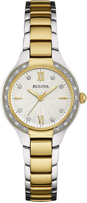 Bulova Women's Diamond (1/8 ct. t.w.) Two-Tone Stainless Steel Bracelet Watch 28mm 98R221 $399 thestylecure.com