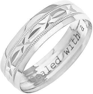 Kareco 9ct 4mm Diamond Cut D Shape Message Wedding Band Ring 'Sealed with a Kiss' nZW00P