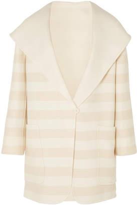 Max Mara Striped Wool And Cashmere-blend Coat - Beige