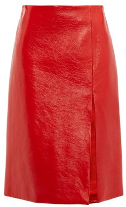 Balenciaga Front Slit Cracked Patent Leather Skirt - Womens - Red