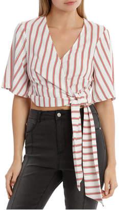 Miss Shop Linen Wrap Co-Ord Top