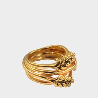 Aurelie Bidermann Large Wheat Ring in 18K Gold-Plated Brass