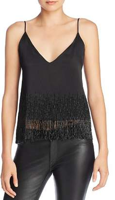 CAMI NYC Dale Beaded-Fringe Camisole Top