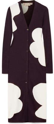 Marni Ribbed Intarsia Wool Cardigan - Merlot