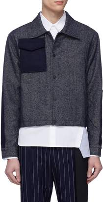 The World Is Your Oyster Felt panel cropped twill shirt jacket