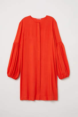 H&M Balloon-sleeved Dress - Orange