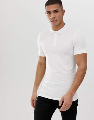 Asos Design DESIGN muscle fit short sleeve jersey polo with stretch in white