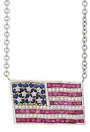 Ambre Victoria Women's American Flag Pendant Necklace