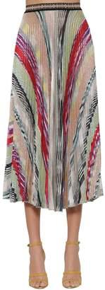 Missoni Striped Knit Lame Midi Skirt W/ Pleats