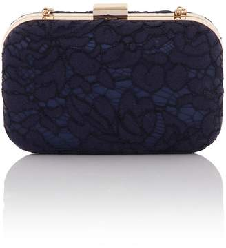 666599787af Little Mistress Handbags Navy Box Clutch Bag In Lace With Detachable Strap