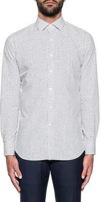 Bagutta White/blue Printed Stretch Shirt