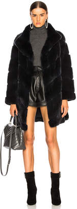 Yves Salomon Rex Rabbit Fur Coat in Eclipse | FWRD