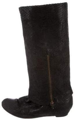 Elizabeth and James Snakeskin Mid-Calf Boots