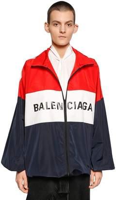 Balenciaga Logo Zip-Up Nylon Track Jacket