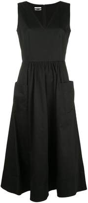 Co sleeveless long ruched dress