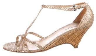 Prada Snakeskin Ankle-Strap Sandals
