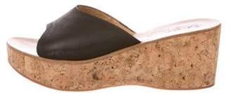 K Jacques St Tropez Leather Platform Wedges