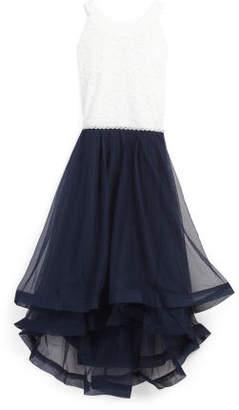 Girls Plus Size Glitter Lace Tiered Dress