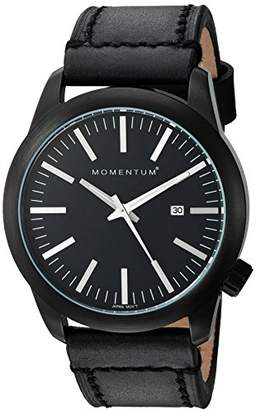 Momentum Men's Quartz Watch | Logic 42 by |IP Black Stainless Steel Watches for Men | Sports Watch with Japanese Movement & Analog Display | Water Resistant watch with Date – Black / Black Leather