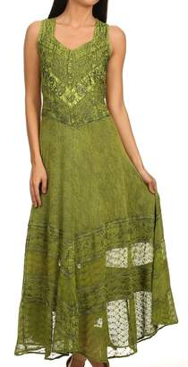 Sakkas 15225 - Zendaya Stonewashed Rayon Embroidered Floral Vine Sleeveless V-neck Dress