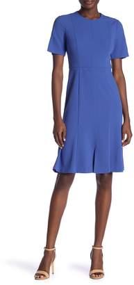 Donna Morgan Short Sleeve Crepe Fit & Flare Dress