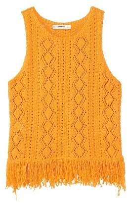 MANGO Fringe crochet top