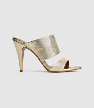 Reiss Nela - Leather Strap Sandals in Gold
