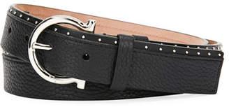 Salvatore Ferragamo Men's Studded Leather Gancio-Buckle Belt