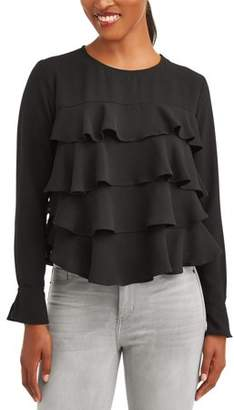 L.N.V Women's Layered Ruffle Blouse