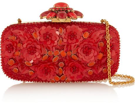 Oscar de la Renta Embellished silk-satin box clutch