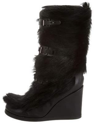 Celine Fox Fur Wedge Boots