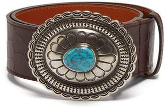 Etro Crocodile-effect leather belt