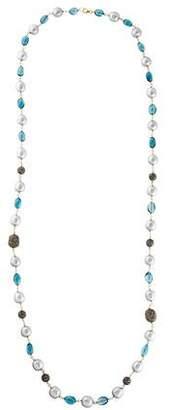 18K Pearl, Topaz & Diamond Bead Strand Necklace