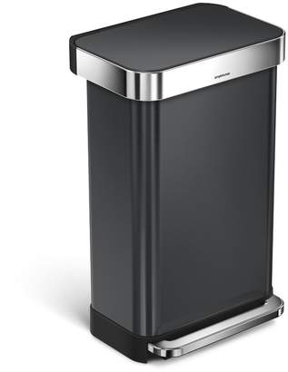 Simplehuman 45 Liter Rectangular Step Steel Trash Can with Liner Pocket