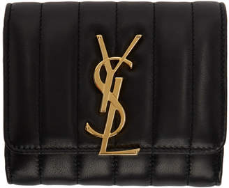 Saint Laurent Black Compact Vicky Wallet