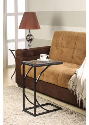 Pilaster Designs Pania Black Metal & Faux Marble Top Contemporary Occasional Magazine Snack Side Sofa Table