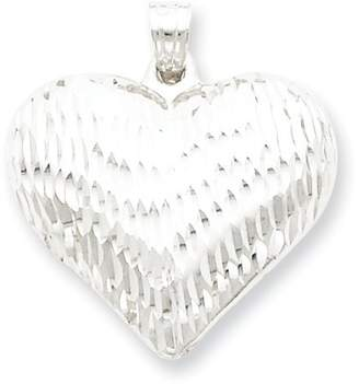 1928 Gold and Watches Sterling Silver Rhodium-plated Diamond-cut Puffed Heart Pendant