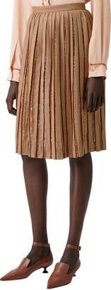 Burberry Jeweled Pleated Wool Skirt