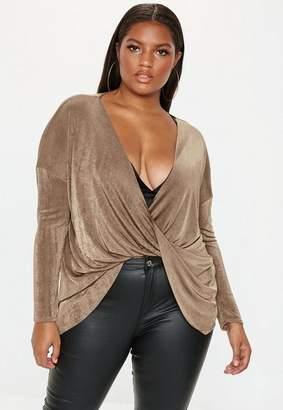 Missguided Plus Size Mocha Drape Front Long Sleeve Slinky Top