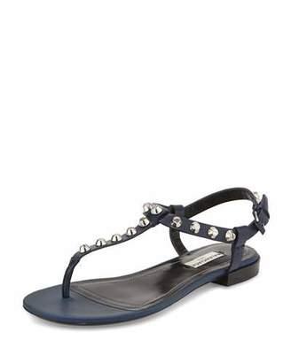 Balenciaga Studded Leather T-Strap Sandal, Navy $595 thestylecure.com
