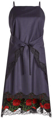 Alexander Wang Pinstriped Virgin Wool Dress with Lace