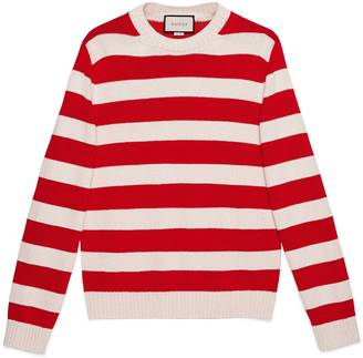 Striped cotton crewneck with appliqué $980 thestylecure.com
