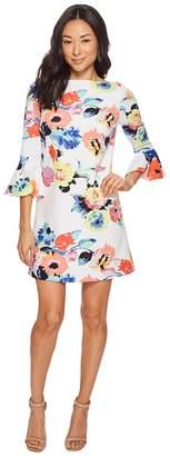 Tahari ASL Petite Trumpet Sleeve Floral Shift Dress Women's Dress