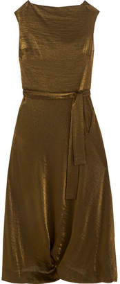 Vivienne Westwood Vasari Draped Metallic Jersey Midi Dress - Gold