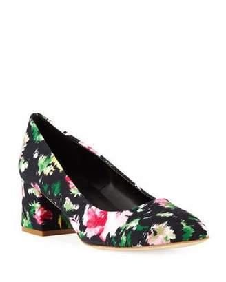 Sesto Meucci Myna Floral Fabric Block-Heel Pumps