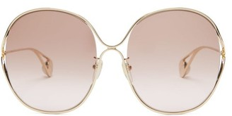 Gucci Oversized Metal Sunglasses - Womens - Brown Multi
