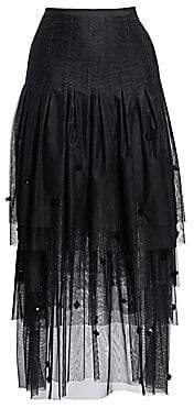 Akris Punto Women's Tulle 3-D Sequin Midi Skirt